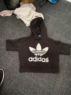 Adidas short sleeve crop hoodie