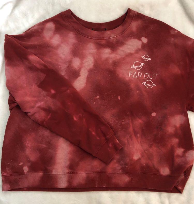 BLEACH-DYED DYED CREW NECK