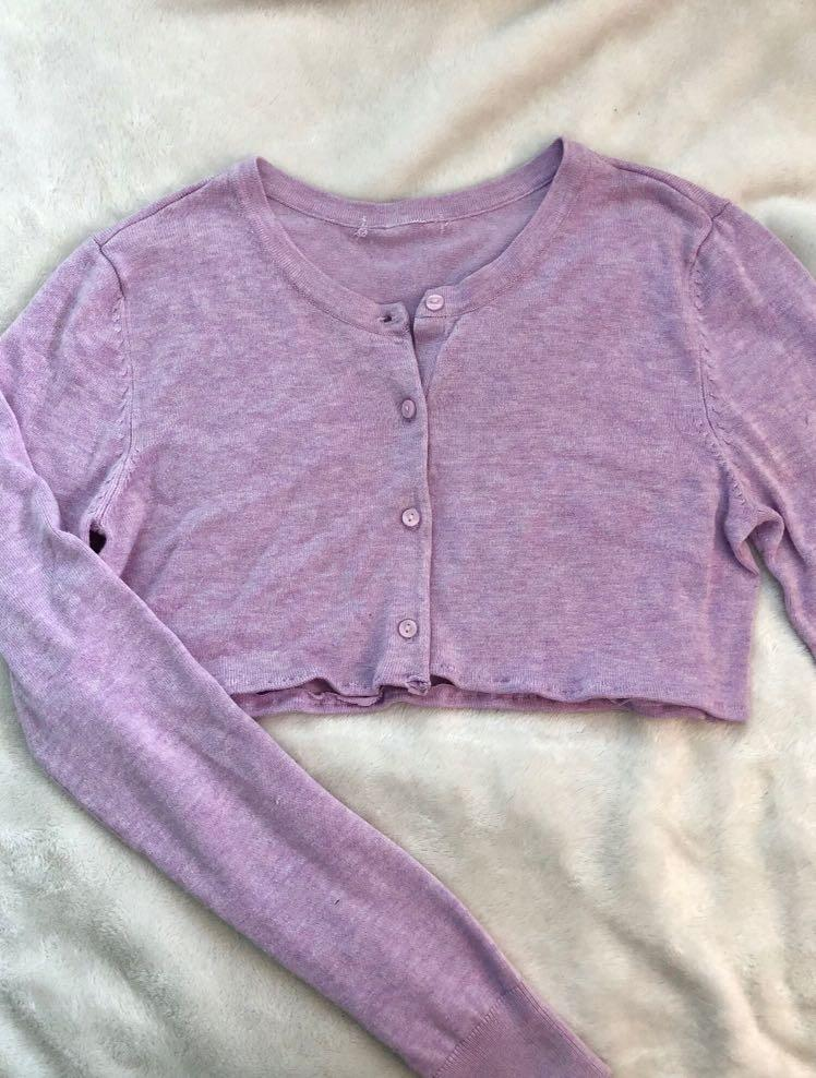 CROPPED LILAC BUTTON-UP