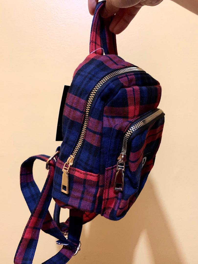 Cute mini plaid backpack