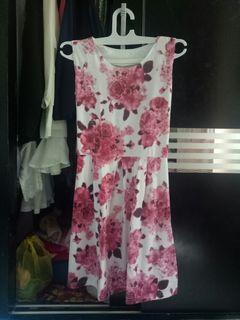 Dress Bunga flower putih pink