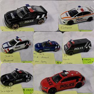 HotWheels, Tomica, Majorette retrofitted police vehicles