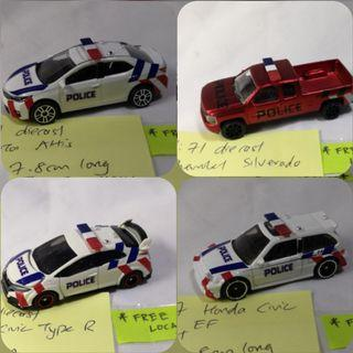 HotWheels Tomica Majorette retrofitted police vehicles