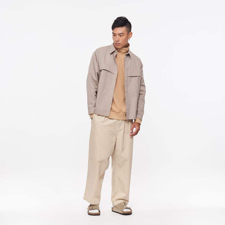 Plain-me COP33101-水洗棉質口袋工作襯衫 / 軍綠 / M