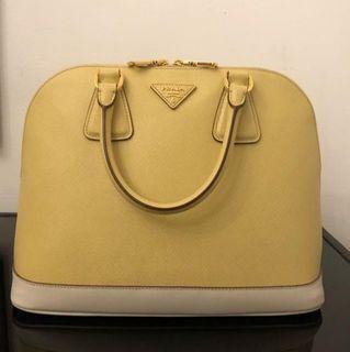 Prada saffiano bicolor dome bag tote yellow white