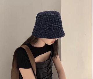 深藍牛仔花紋磨毛印花水桶帽遮臉遮陽盆帽漁夫帽