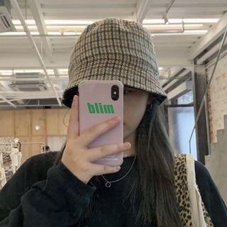 咖啡色格紋燈芯絨雙面黑色水桶帽遮臉遮陽盆帽漁夫帽