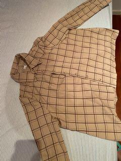 格紋襯衫日系咖啡色米色杏色上衣挺版森林系格子