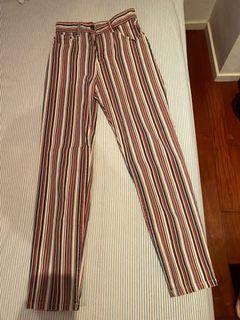 繽紛彩色條紋長褲直筒褲