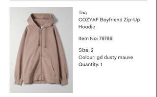 Aritzia Boyfriend zip up hoodie