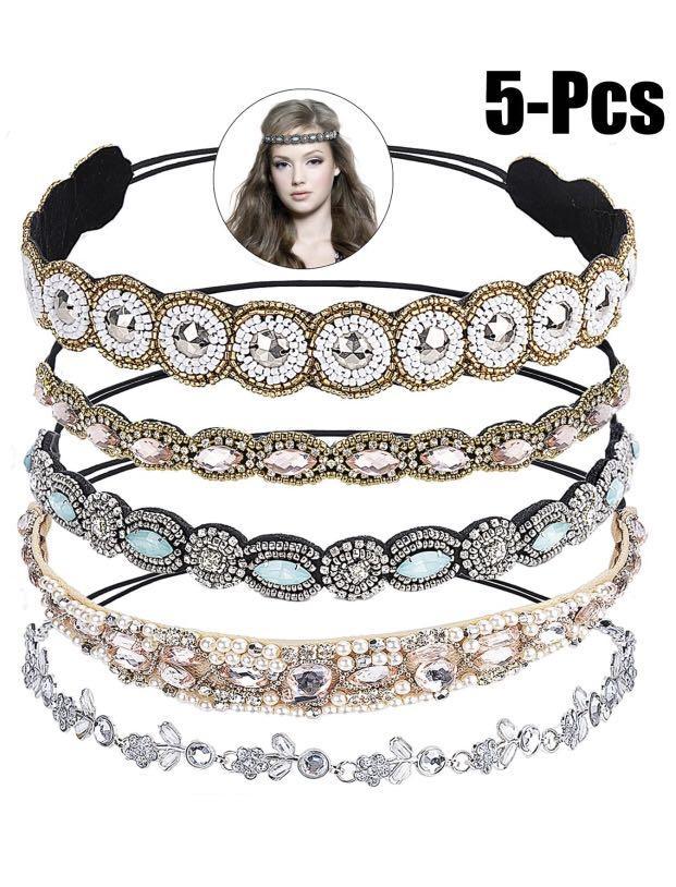 Brand new  5PCS Rhinestone Beaded Headband Crystal Elastic Headband Wedding Hair Band