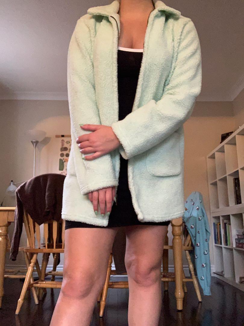 Fuzzy Mint Teddy Zip Sweater