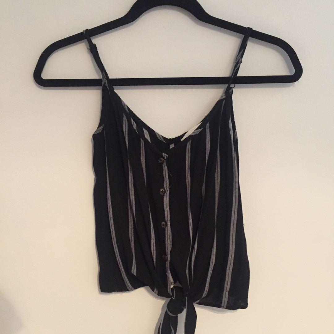 H&M button-up, tie-up Tank Top (0/XS)