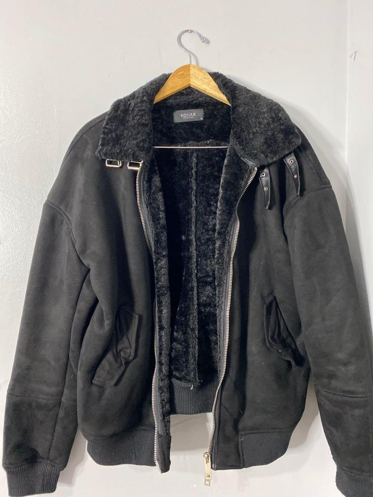 KOIIAR Men's Suede and Faux Leather Bomber