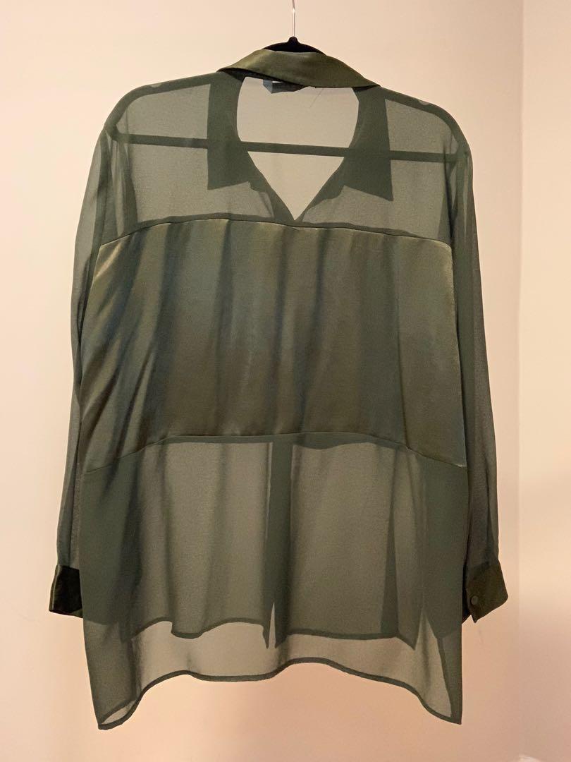 Olive green satin blouse
