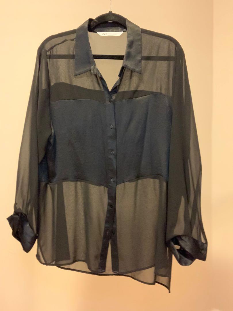Satin shirt with panel