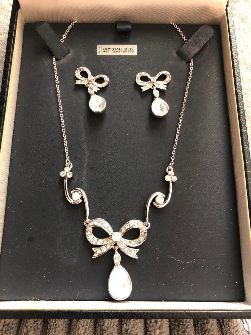 Swarovski Paris bijoux earrings and necklace set, Women's Fashion ...