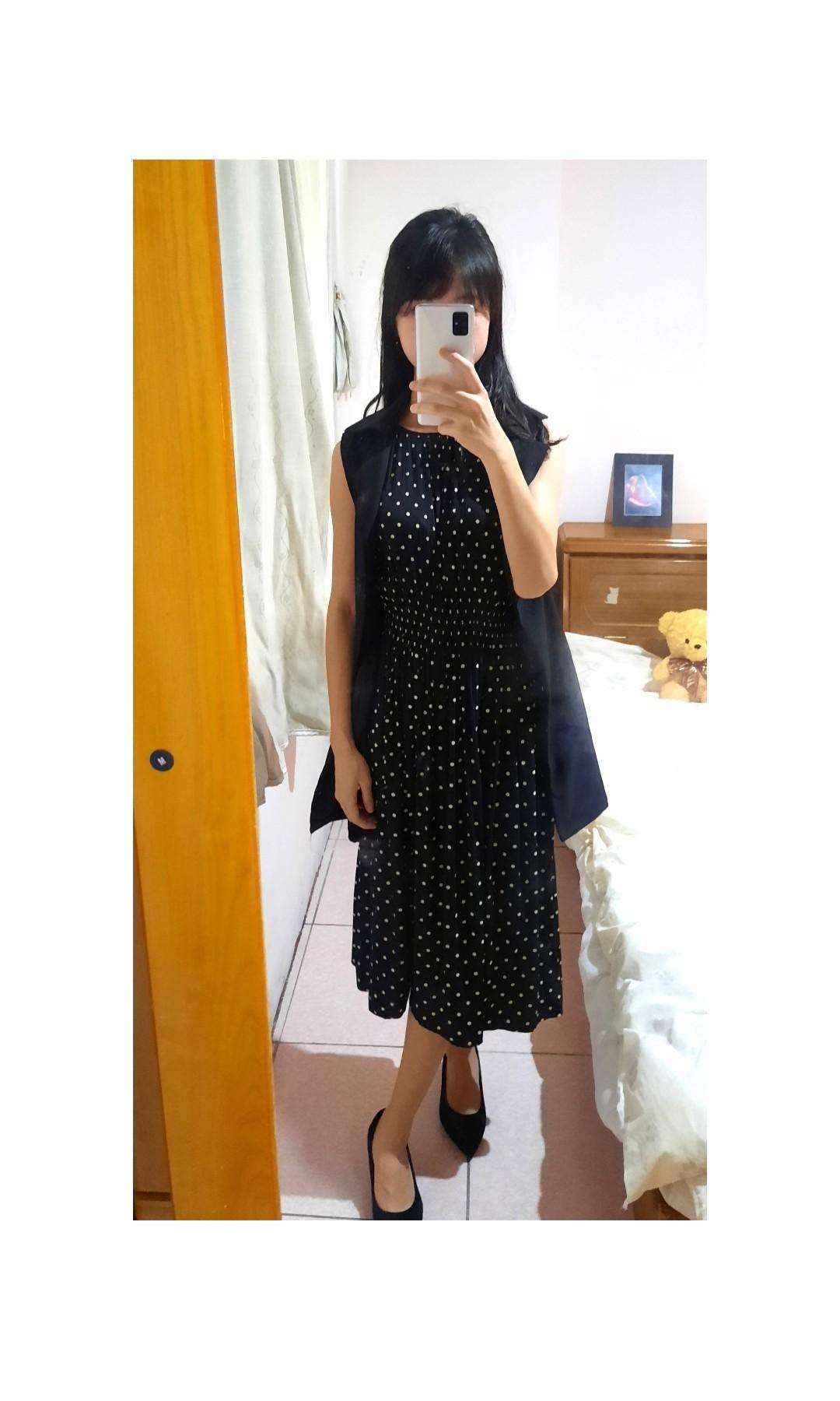 Unique 上班族點點縮腰洋裝 配無袖罩衫 一組價 正式 氣質洋裝 修身#週慶 (點擊圖片看完整穿搭)