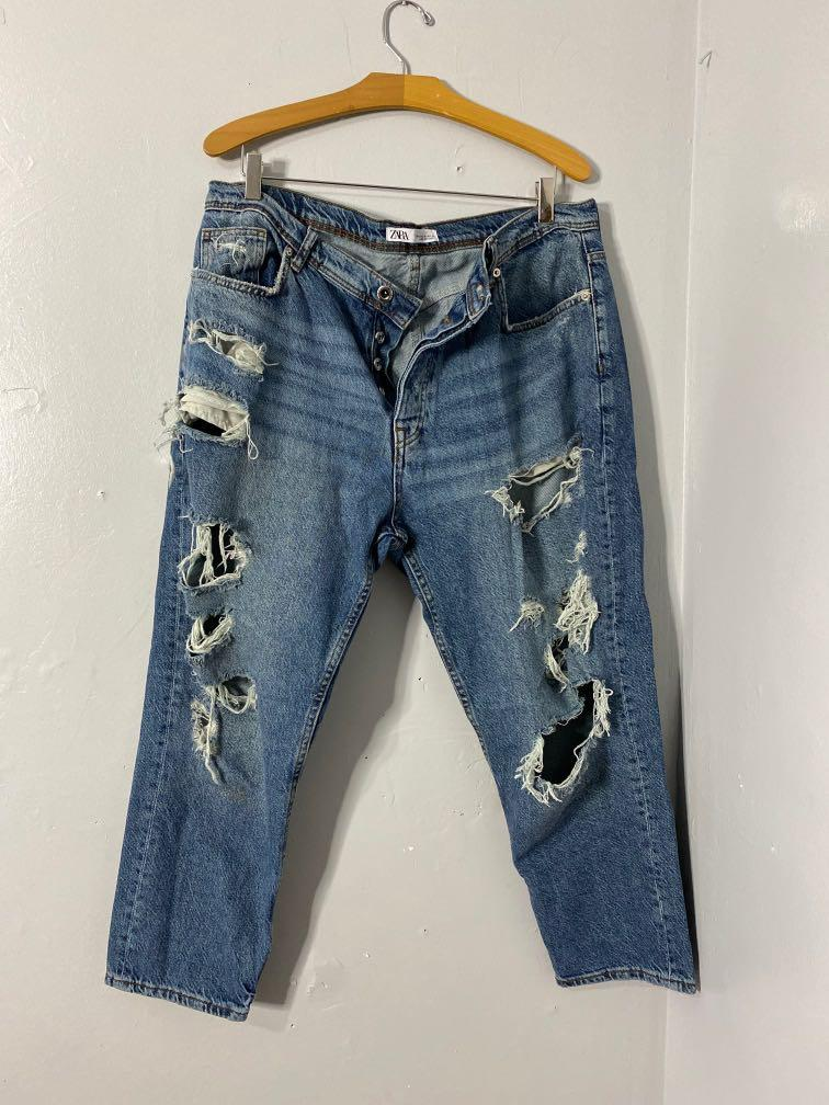 Zara Man Ripped Loose Fit Jeans