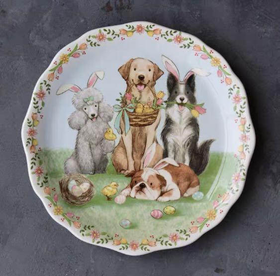 寵物餐盤湯培森北歐鄉村風格釉下彩陶瓷餐具