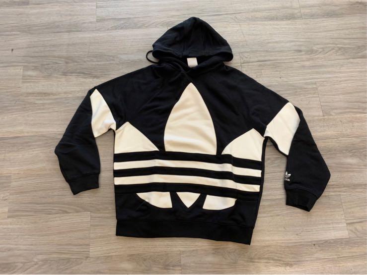 現貨 Adidas愛迪達三葉草刺繡logo帽T