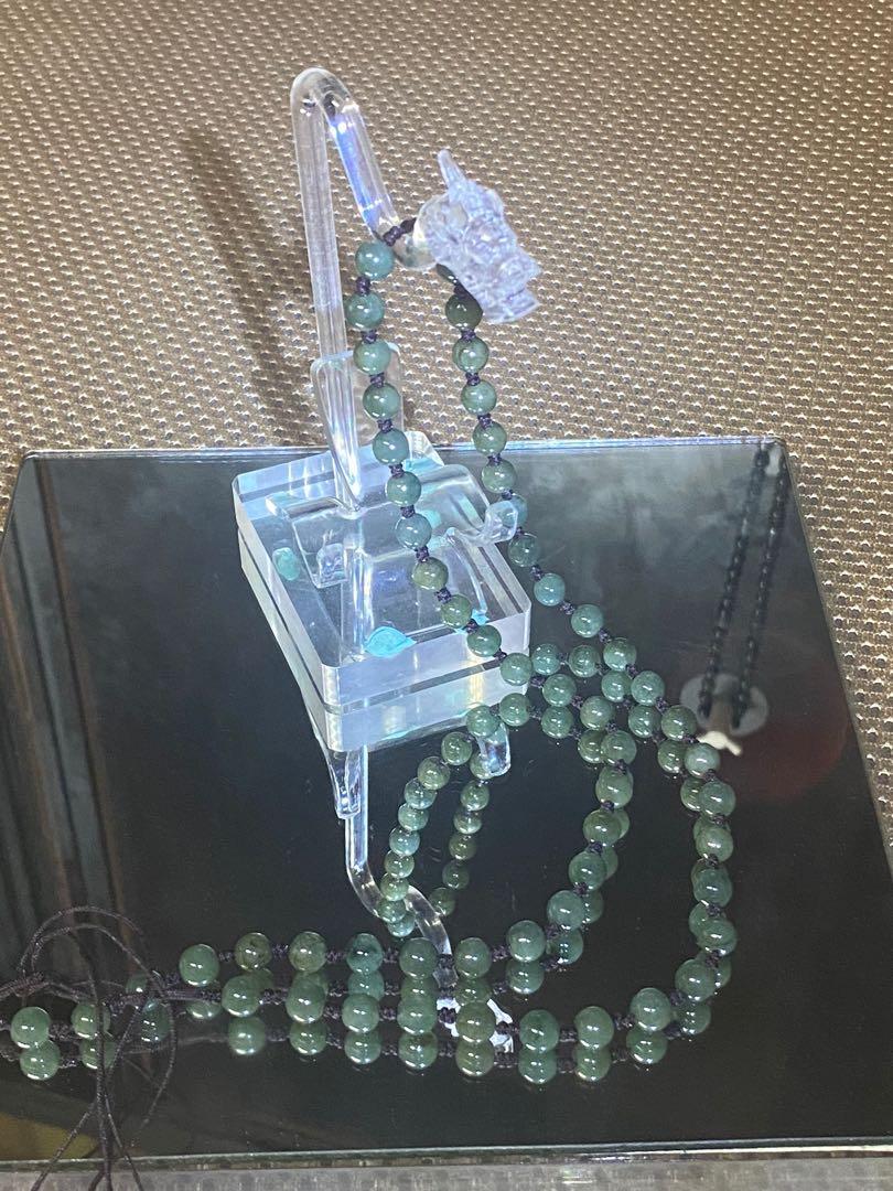 天然翡翠A貨… 油青翡翠珠鍊…(綁掛件用)