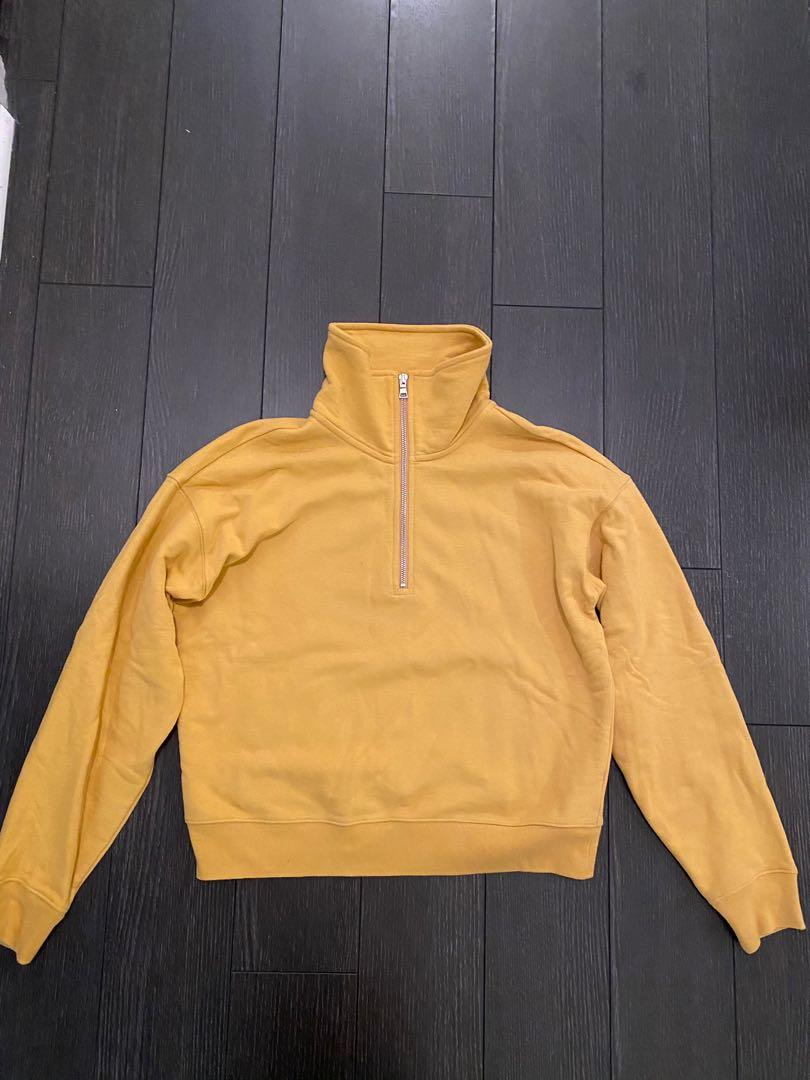 ARITZIA BABATON yellow zip sweatshirt