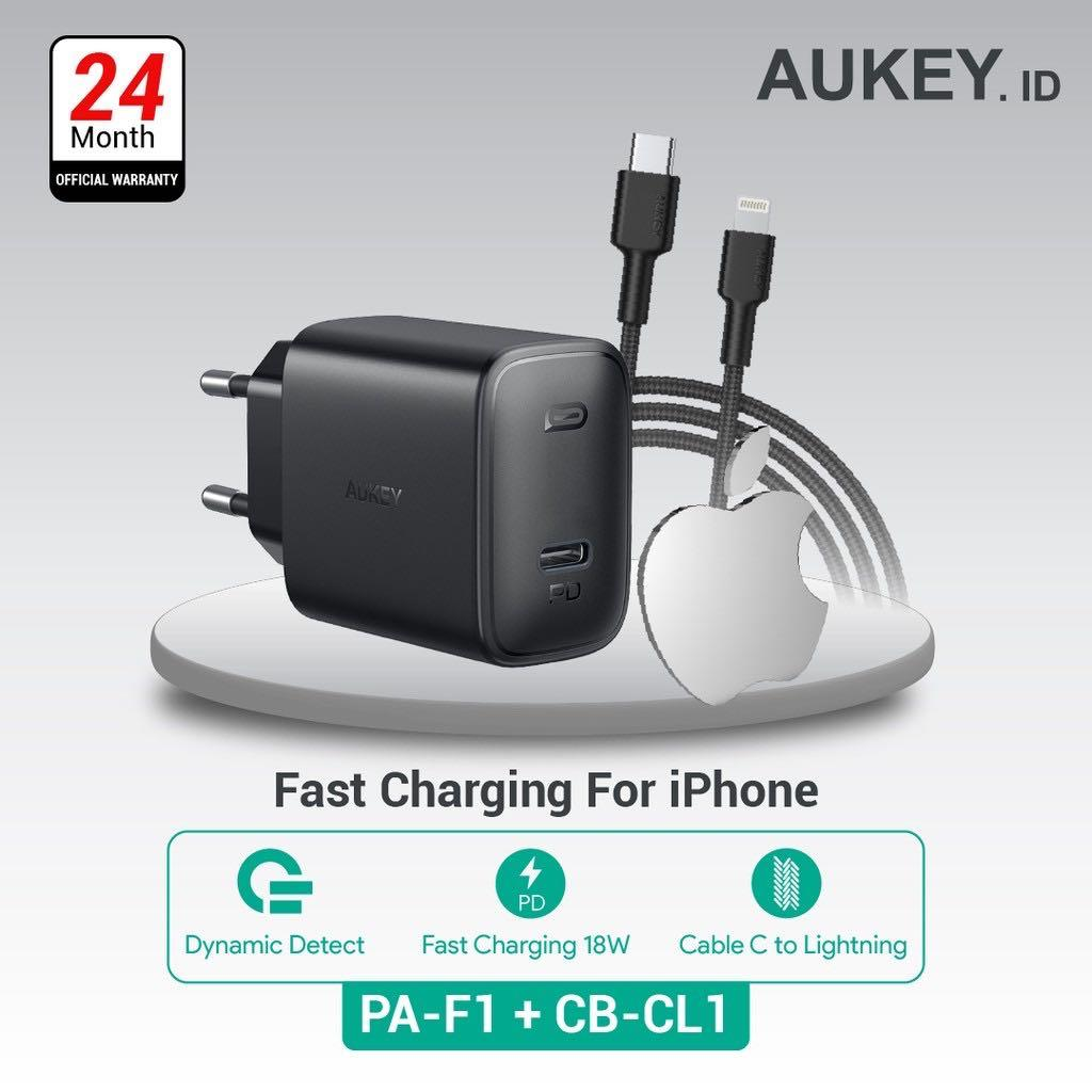 Aukey Charger PA-F1 + Aukey Cable CB-CL1