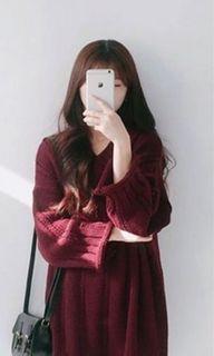 dress sweater knit maroon