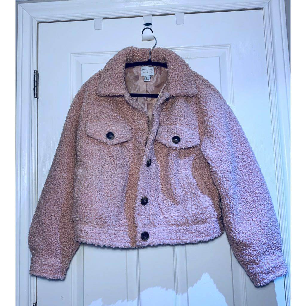 Forever 21 Pink Teddy Coat, sz Small