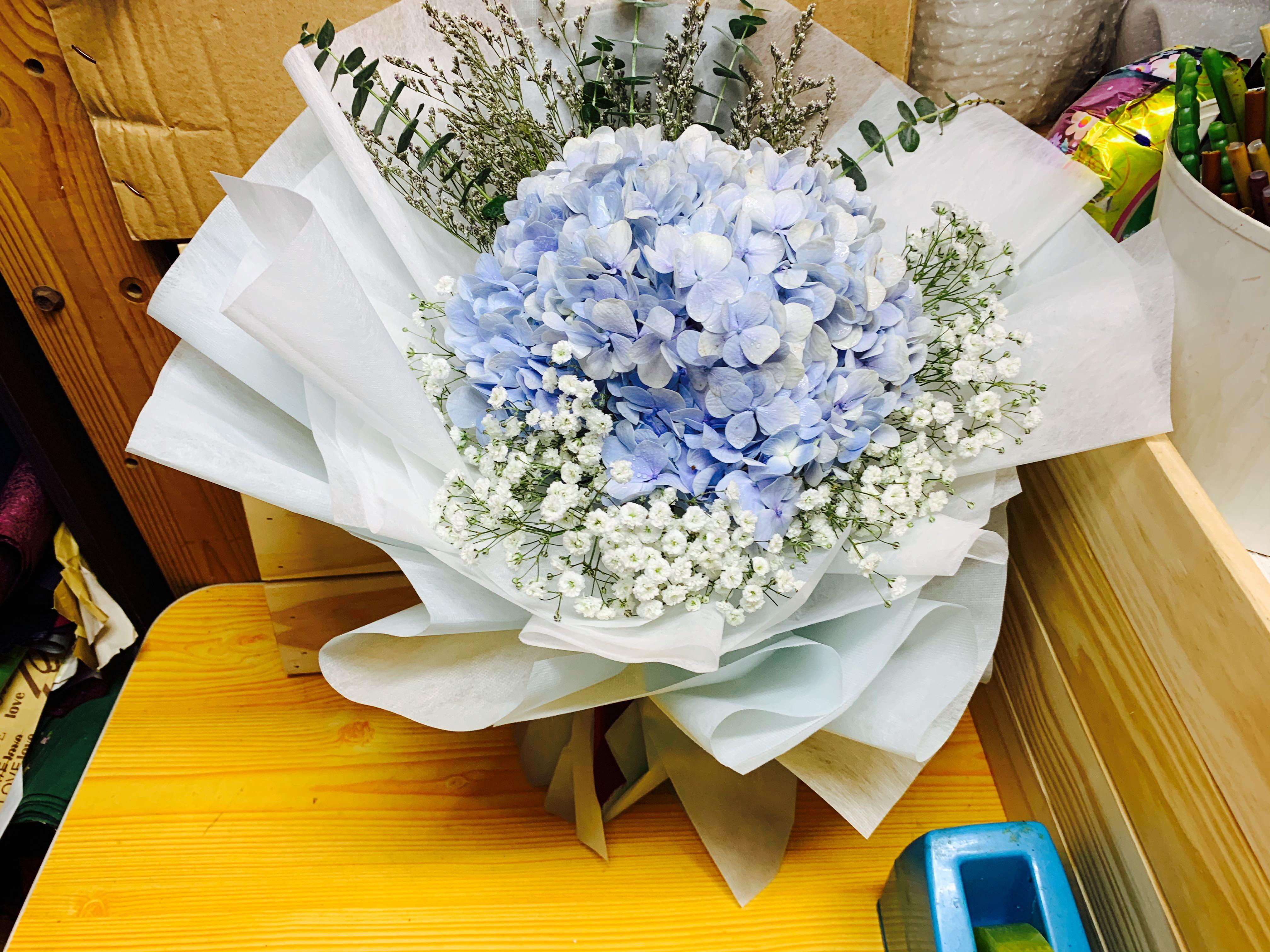 Huamama Blue Hydrangea Flower Bouquet Gardening Flowers Bouquets On Carousell