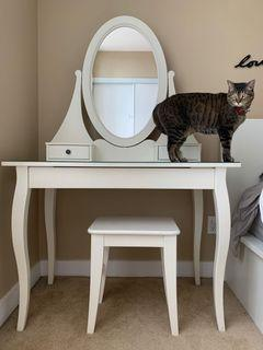 IKEA White Hemnes vanity table and Ingolf stool