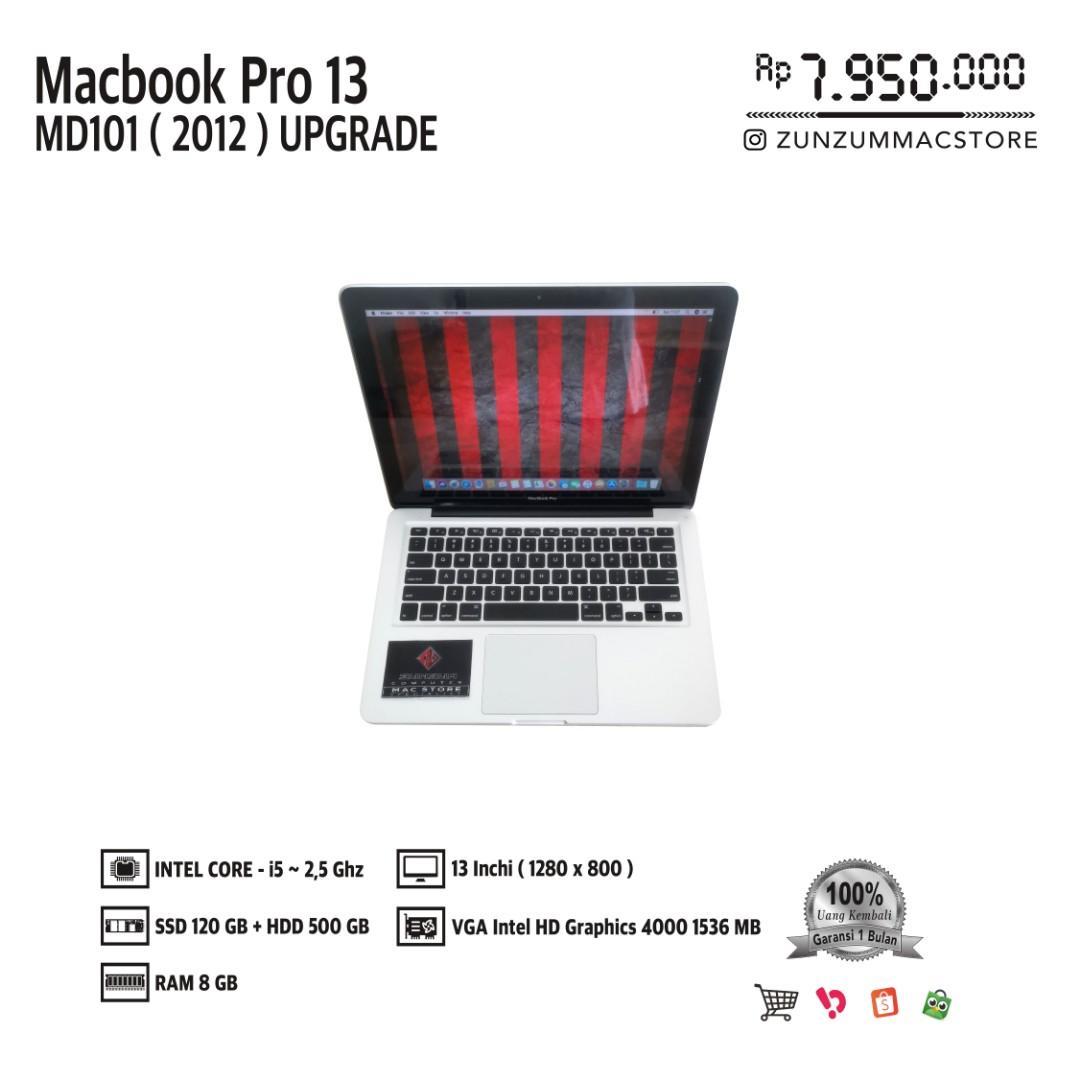 Macbook Pro 13 MD101 Upgrade MID 2012 Core i5 Ram 4 GB SSD 120 GB HDD 500 GB Like New
