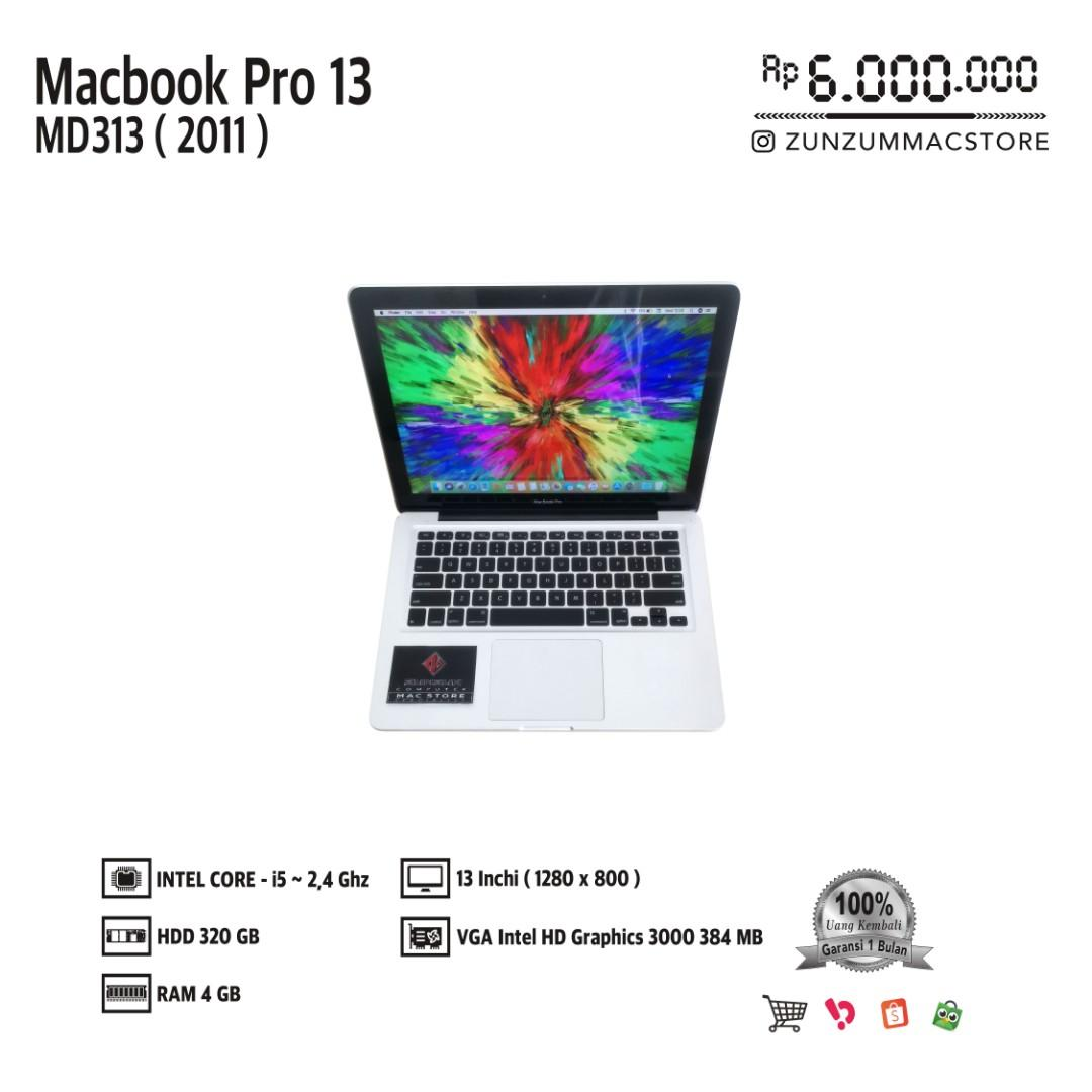 Macbook Pro 13 MD313 Late 2011 Core i5 Ram 4 GB HDD 320 GB Mulus