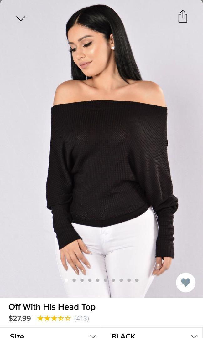 Off the shoulder black top size XS (stretchy)