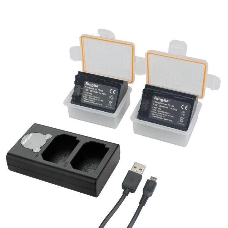 Sony NP-FZ100 Battery Charger Kit, 2x2000mAh Batt.&Dual Slot Smart Display Charger KingMa BM048-FZ100
