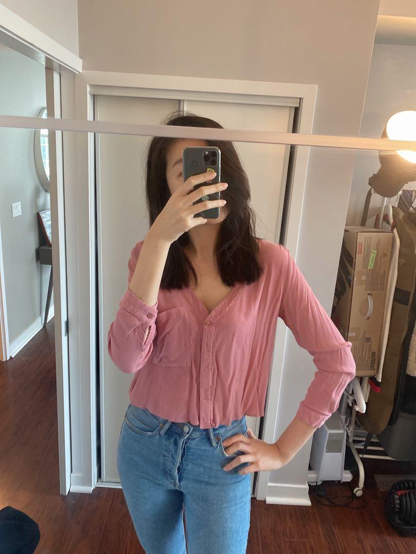 Topshop pink shirt size us8