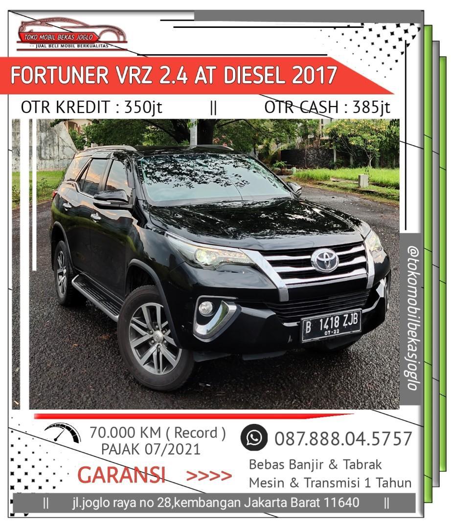 Toyota Fortuner VRZ 2.4 AT Diesel 2017 Hitam Kondisi Istimewa Dijamin Siap Pakai