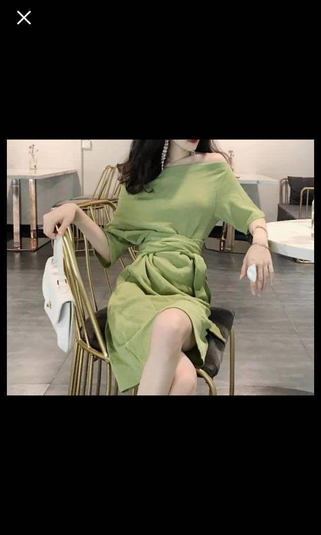 綠色綁帶洋裝