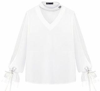 絕不撞款蕾絲白襯衫 全新