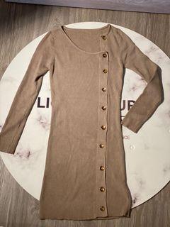 駝色 大地色 連身裙 可當罩衫