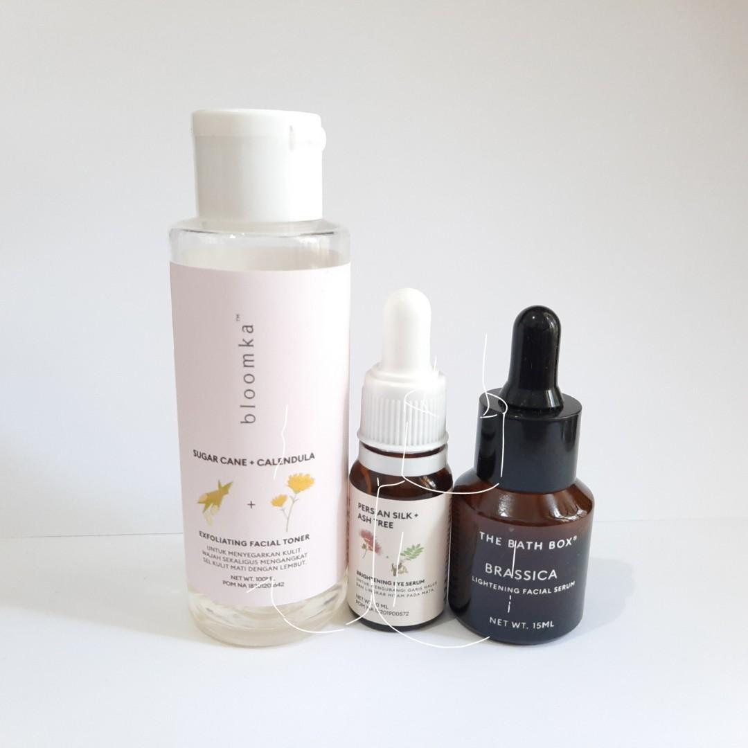 Bloomka toner-eye serum & The Bath Box Brassica