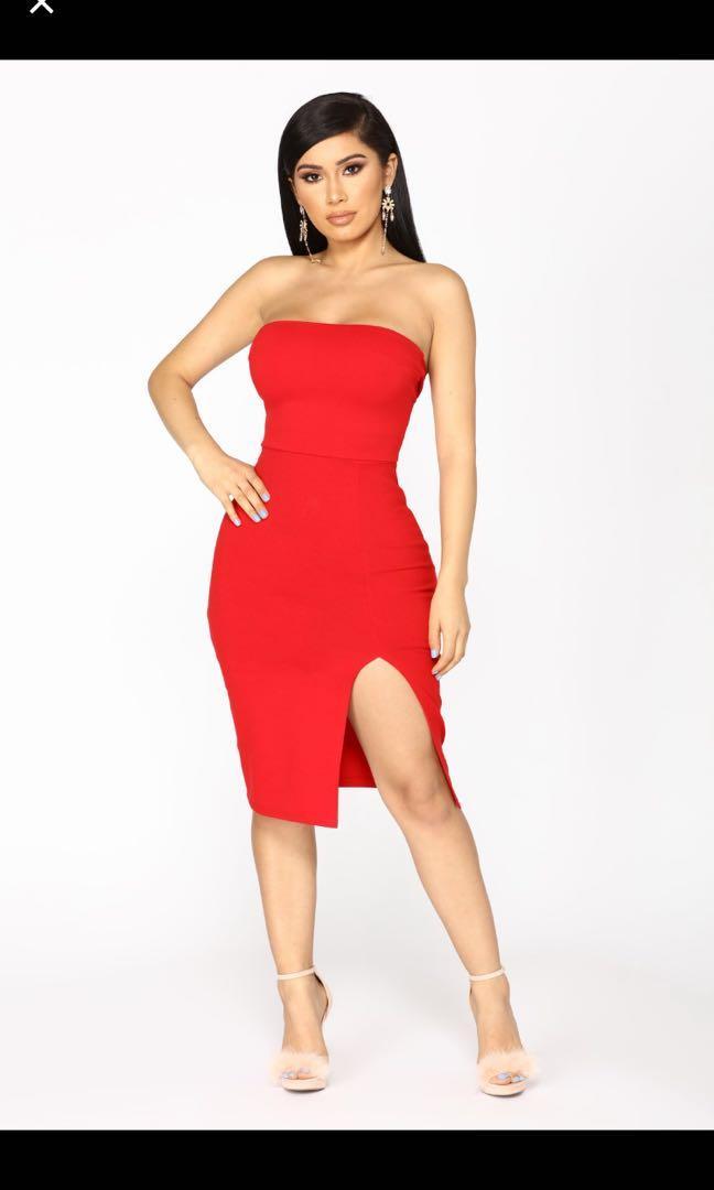 Bnwt Red slit dress