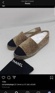 Chanel espadrilles camelia velvet