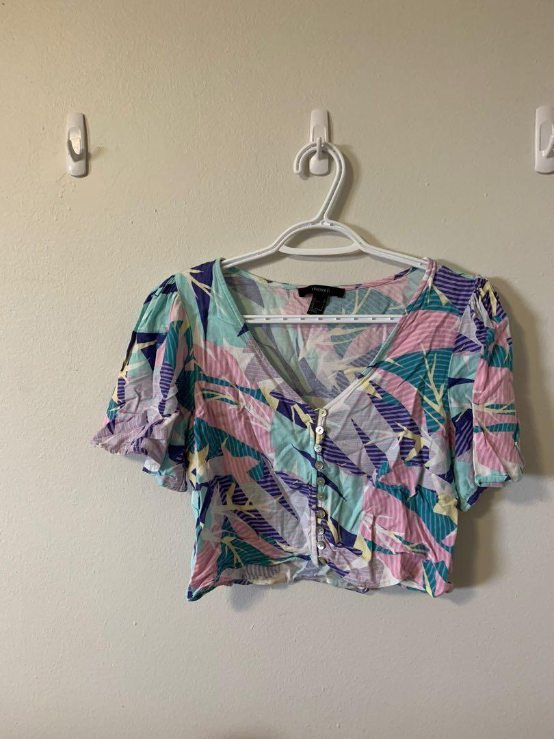 Forever 21 80s Button Up Crop Top