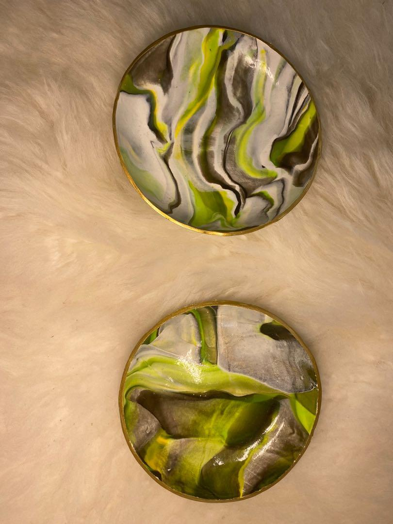 Green marble print polymer clay ring dish