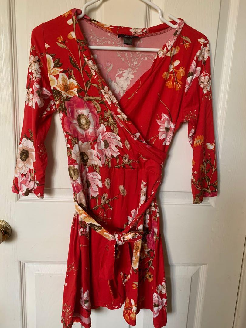 Hot pink ruffle floral tie up summer dress