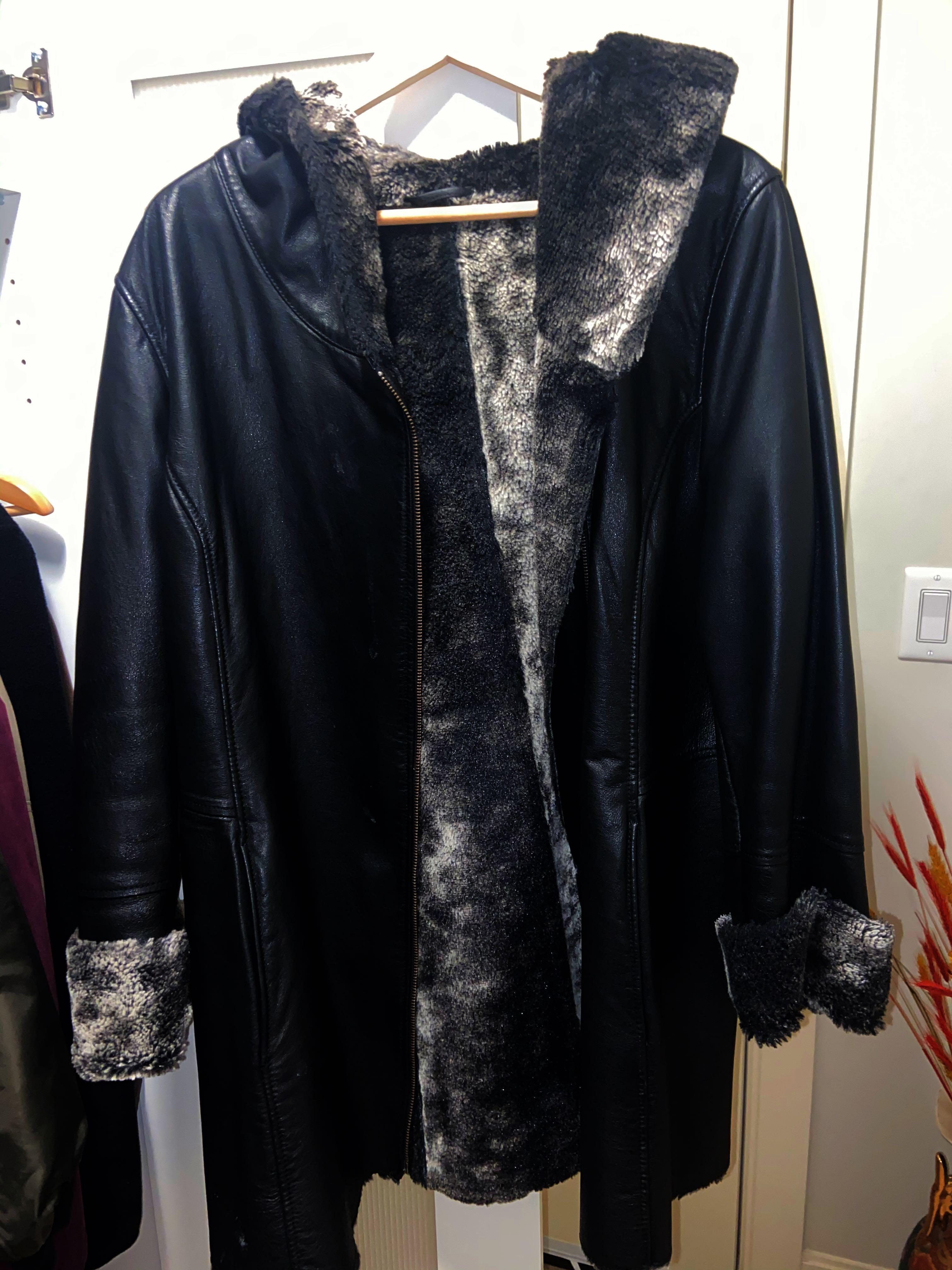 Leather Jacket with faux fur lining
