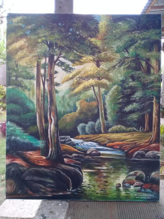 Lukisan kanvas hutan 100x120cm RD