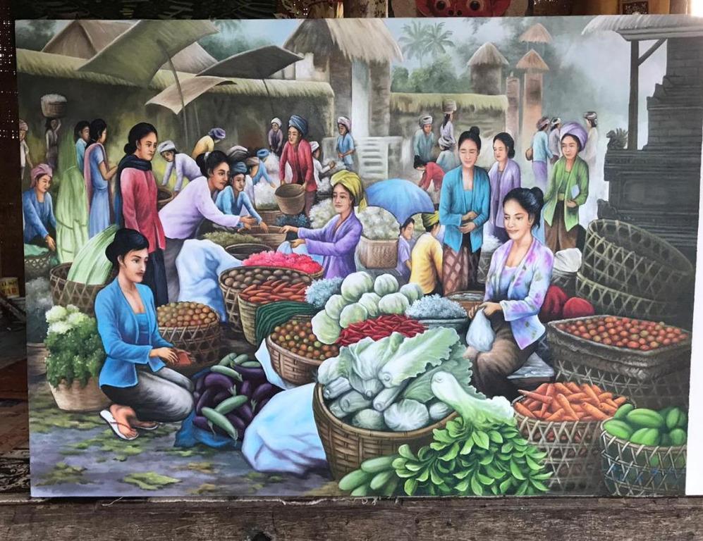 Lukisan kanvas pasar 100x140cm RD